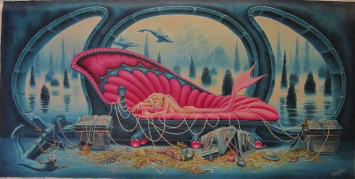 Mermaid's Nap...oil on canvas 20x40 inches by ChristopherPollari