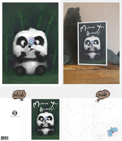 Panda and Butterfly Card by Jagged88
