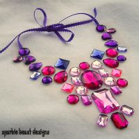 Bold Pink and Purple Necklace by Natalie526
