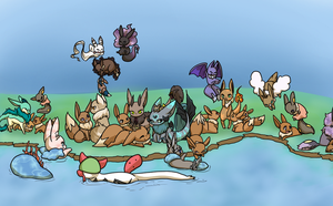 PKMNation Eevee Swarm 001 by kitzune-griffith