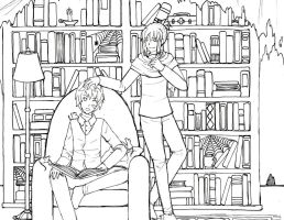 No. 6 Reading lineart by WingedLioness