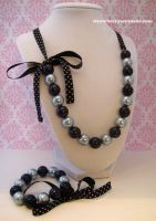 Blue and Black Pearl Lolita Ribbon Jewelry Set by Strawberryserenade