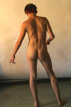 nude male standin back 1 by TheMaleNudeStock