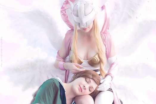 An Earned Rest, Kari + Angewomon, Digimon Cosplay by BanditsSpurs