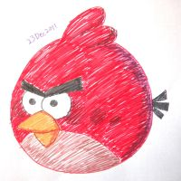 Colour pens red bird by RiverKpocc