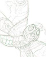Rough of Mothra by JellySoupStudios