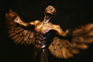 Icarus - Oblique View - Unique Lost Wax Bronze by elysiumsangel