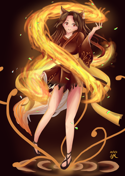 [OC] Dancing With Fire | +Speedart by hellfire153