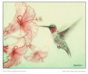 A Humming Bird and Flowers by Aldojeffrey