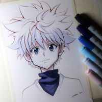Killua Zoldyck from Hunter x Hunter - Copic Sketch by LethalChris