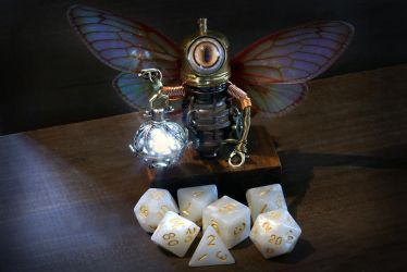 Robot Fairy with white lantern by CatherinetteRings