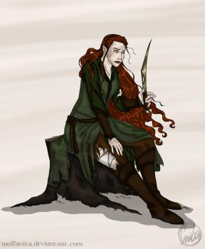 Commission: The Hobbit: One Elf Army Tauriel by wolfanita