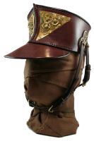 STEAMPUNK LEATHER SHAKO - polished brass and gears by AmbassadorMann