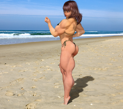 Candi on the Beach, Back Pose 3 by kittyelfie