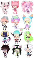 12 chibi commissions for ObsceneBarbie by SparksTea