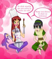 Starfire and toph time by Ceshira