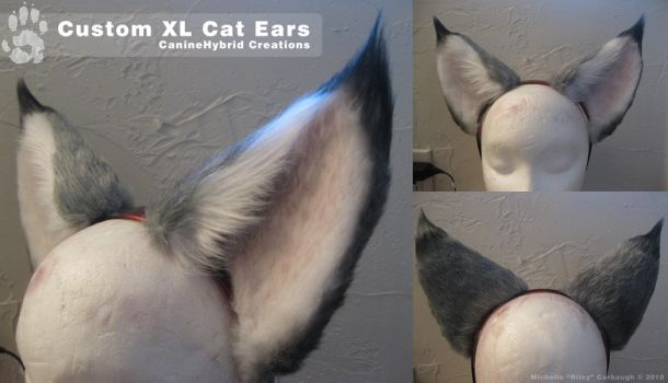 Commission- XL Gray Cat Ears by CanineHybrid