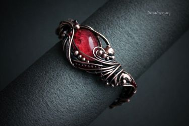 Copper bracelet with chlorite quartz and garnets by MDorothy