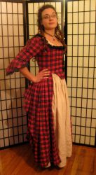 Red Plaid Polonaise Side by crookedpin