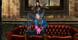 Bayonetta x Vergil and pink dog in dmc shop office by whiteangel-vergildmc