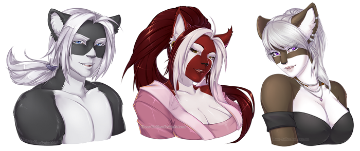 2018 Bust Commissions Batch 2 by Horus-Goddess