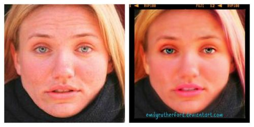 Cameron Diaz- Touch up  Before and After by emilyrutherford