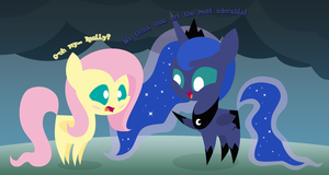 Pointy Pony Commission: Fluttershy and Luna by MidnyteSketch