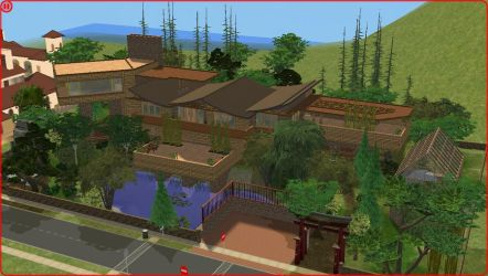 Sims2 Modern log mansion by RamboRocky