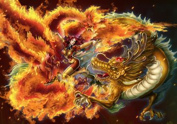 phoniex and dragon by daxiong
