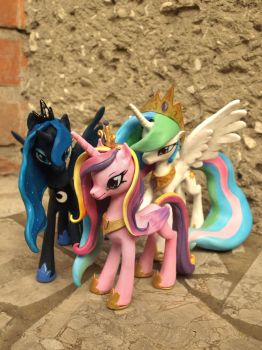 Celestia Luna and Cadence sculptures by Z-N-K