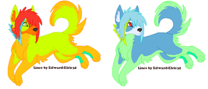 canary colored dog adops by CheshireGrinAdopts