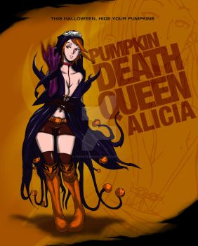 Halloween Art: ALICIA : The Pumpkin Death Queen by thesecondsai