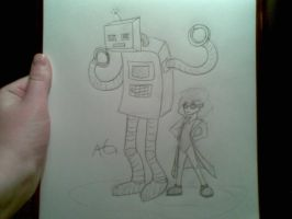Mini Evil Scientist and Robot by NinjaObsessed