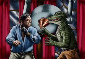 Lon Chaney jr vs Alligator Man by Loneanimator