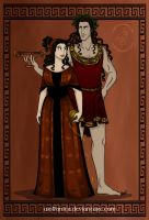 GodsOfAncientGreeceCouples: Dionysos and Ariadne by wolfanita