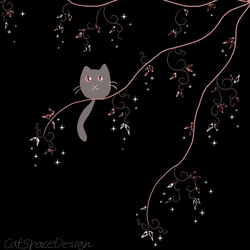 A Cat on a Pink Crystal Tree by CatSpaceDesign