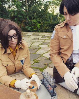 Hanji and Levi experimenting by Wigansuinthe