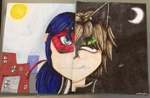 Miraculous Ladybug and Chat Noir by xxmidnight12xx