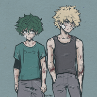 Boku no Hero Academia: Midoriya and Bakugou by nyphi