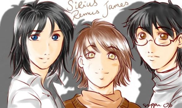 Sirius, Remus and James by Suppu