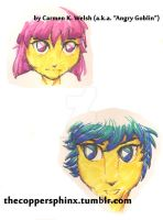 Pinkblossom and Beribluebartony headshots by CopperSphinx