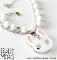 White Bunny Bracelet by splitmindplush