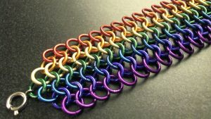 Rainbow Chainmaille Wristband with Clasp by ofmyhats