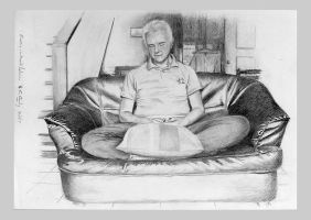 Pencil drawing: *Portrait of EA in Meditation* by Denish-C