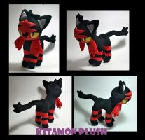 Pokemon - Litten custom plush for auction by Kitamon
