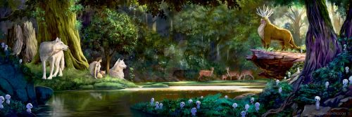 The Princess and Spirit of the Forest by mkmatsumoto