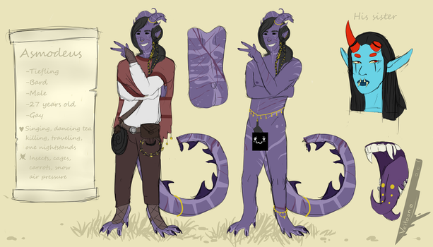 Asmodeus the tiefling [refsheet] by Veitoon