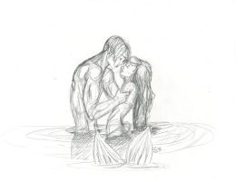 24 2012 Tini - Pencil: Jim and Ariel by JusTiniStilborn