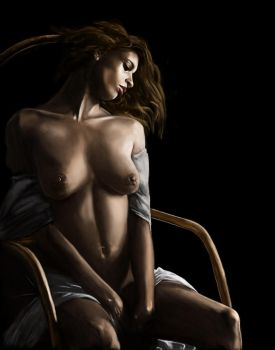 Mulatto Nude In Chair by KRStyle