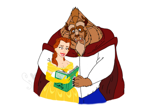 Belle and Prince Adam Reading Together by Kabuki-Sohma